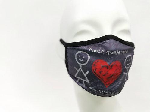 Masques je t'aime pour enfant en tissus lavables