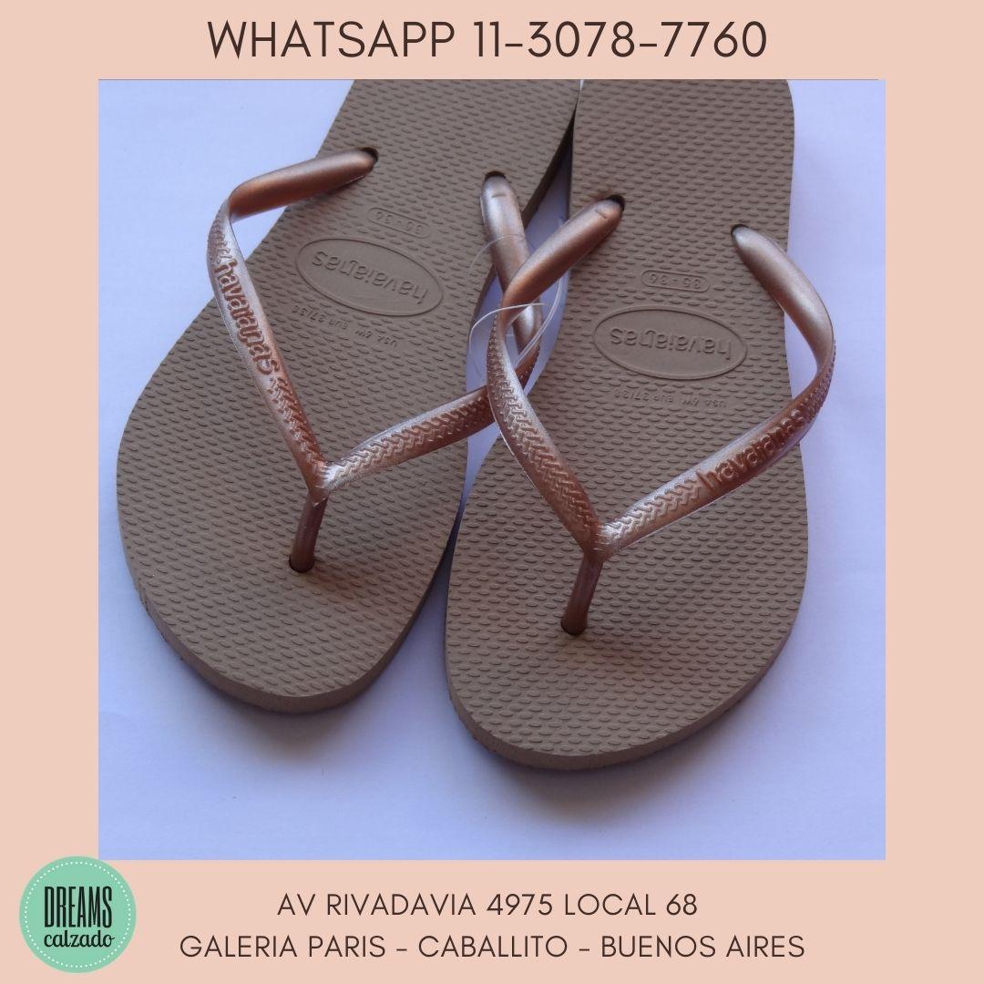 Ojotas Havaianas Slim doradas para mujer originales Dreams Calzado Caballito Av Rivadavia 4975 Local