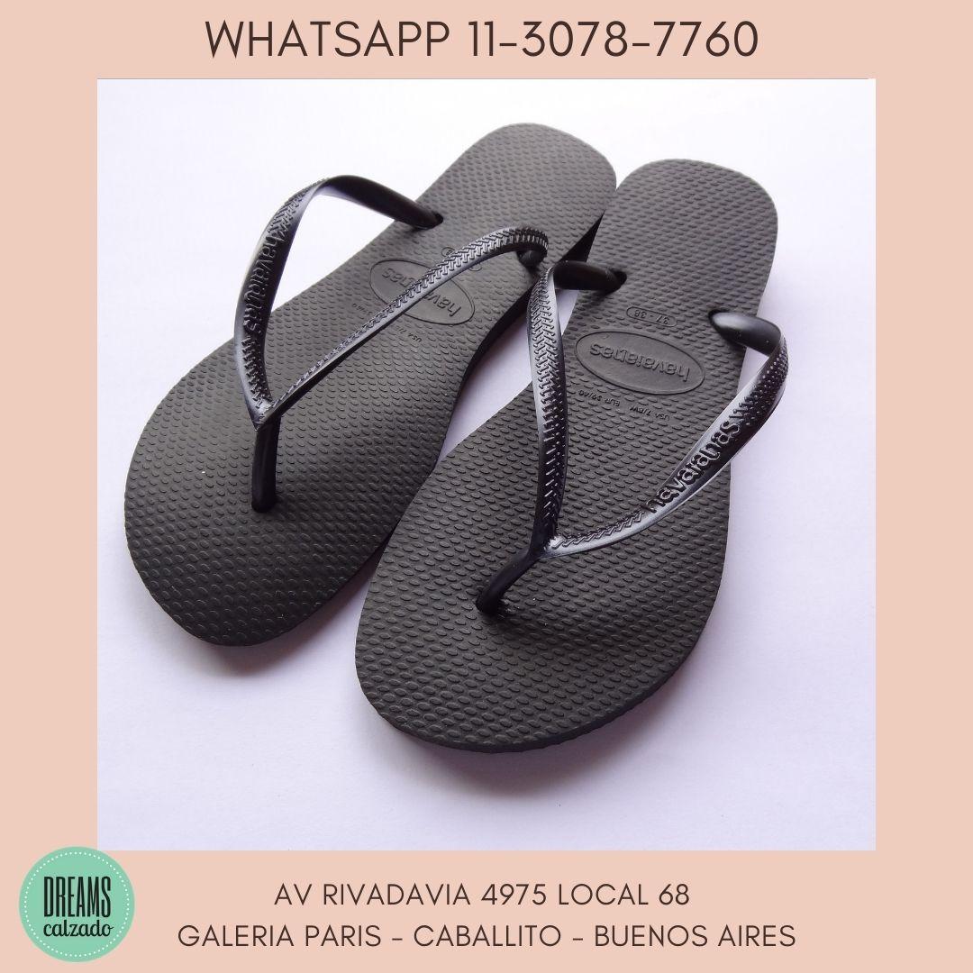 Ojotas Havaianas Slim negras para mujer originales Dreams Calzado Caballito Av Rivadavia 4975 Local