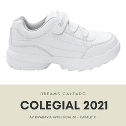 Zapatillas colegiales Botanguita deportivas Academic blancas abrojo velcro Dreams Calzado Caballito