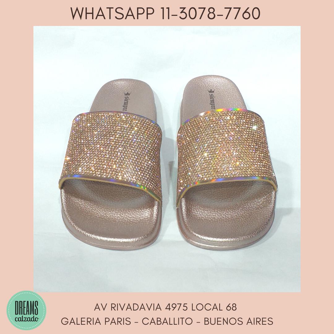 Sandalias de Faja con brillo strass Siempre Reina Rose Gold DReams Calzado Caballito Av Rivadavia 49