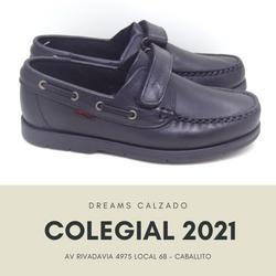 Zapatos colegiales de cuero Marcel para varón 501 nautico con abrojo velcro Dreams Calzado Caballito