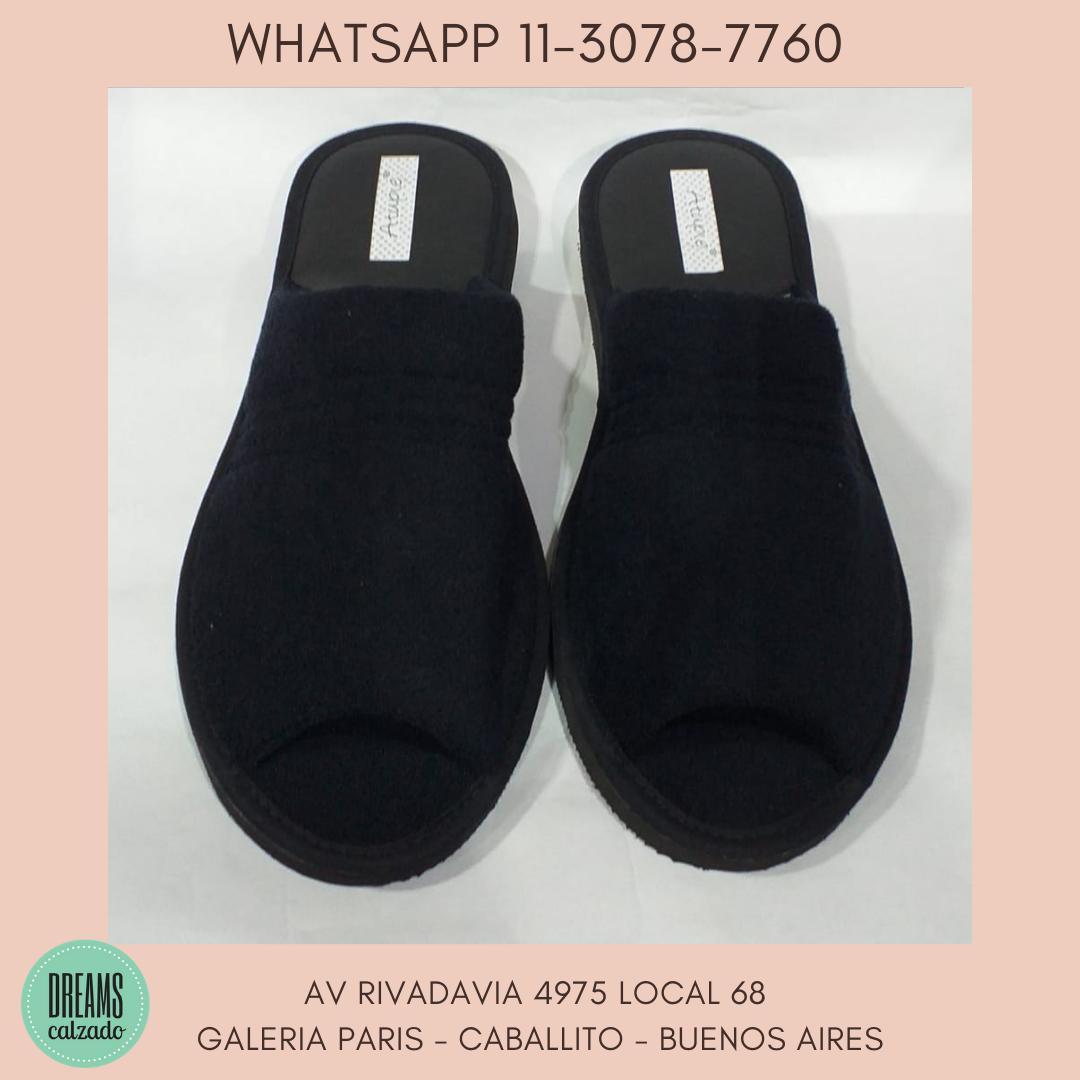 Pantuflas chinelas para hombre de toalla Atupie punta abierta negro Dreams Calzado Caballito Av Riva