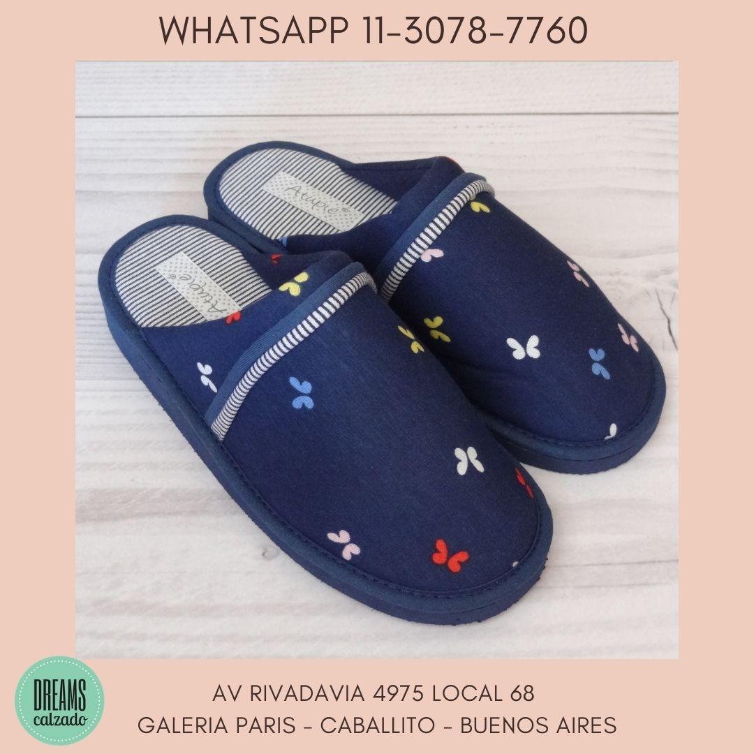 Pantuflas chinelas Mujer Atupie azul mariposas Dreams Calzado Caballito Av Rivadavia 4975 local 68 G