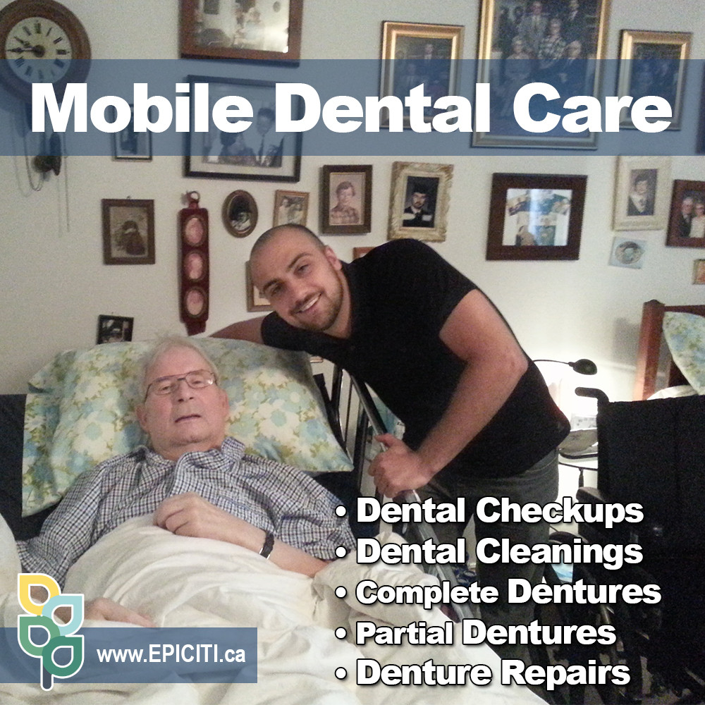 House call mobile denture specialist and mobile denturist in Newmarket and Etobicoke providing convenient onsite mobile denture clinic services for seniors in hospitals, private homes, nursing homes and retirement homes. How much do dentures cost? Book our free in-home denture consultation in Burlington and Scarborough to learn about the cost of dentures. Mobile denture and mobile dental cleaning services are covered by private insurance companies, ODSP/OW, NIHB, and Veteran Affairs.