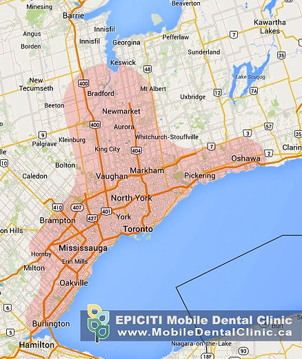 Mobile housecall denture services Mississauga and in-home mobile dental cleaning services for seniors in nursing and retirement homes and hospitals Toronto, Richmond Hill, Newmarket Ontario. EPICITI Mobile Dental Clinic provides in-home dental care in Burlington, Oakville, Brampton, Oshawa, Scarborough, North York, Vaughan, Etobicoke, Markham, Richmond Hill, Aurora, Newmarket and Barrie, including Coldwater, Ontario.