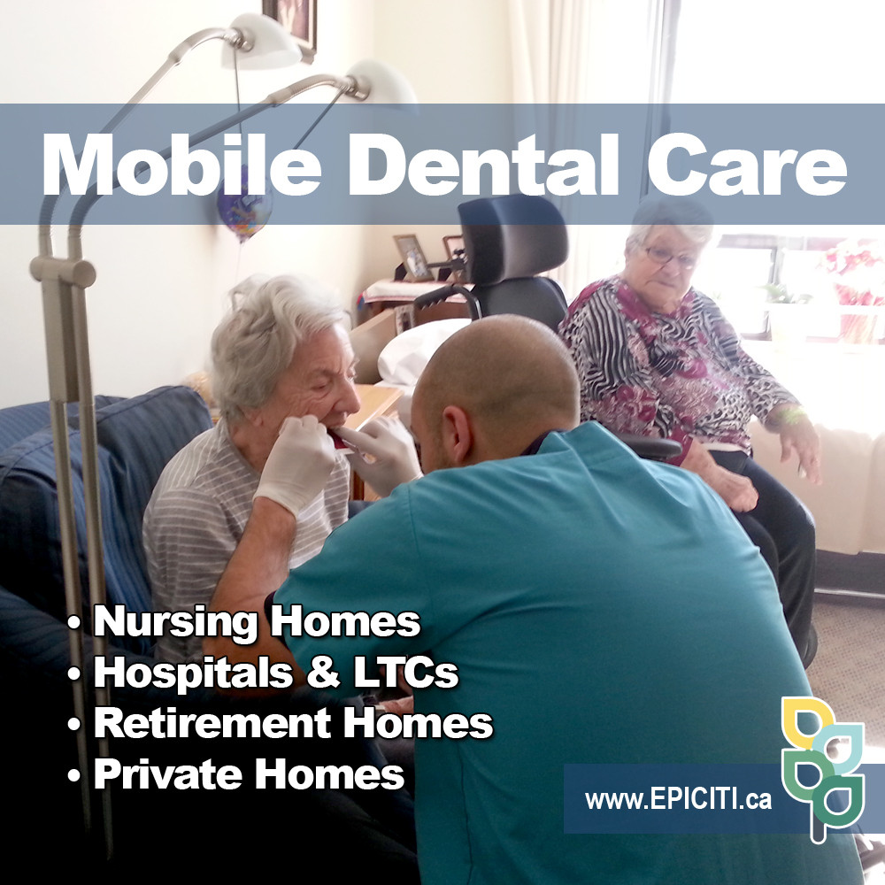 Mobile denturist working in a nursing home with a senior for house call denture appointment in Toronto and Oakville. Mobile denture clinic service in nursing homes and retirement homes for seniors who require intra –oral examinations and complete dentures. In-home denture services in Scarborough include complete dentures and partial dentures in Toronto and Newmarket. Mobile denturist in Newmarket available for complete mobile dentures and in-home mobile dental cleaning services in Bradford. Mobile denturist in Aurora helping seniors who require complete dentures. Denture for ODSP and dentures for OW patients in Toronto and Newmarket.