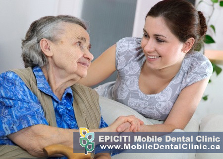 Mobile denturist in Thornhill assisting senior in nursing home and retirement home settings. Affordable mobile in-home dental cleaning services offered by mobile dental hygienist in Toronto and Newmarket area to help seniors in nursing homes with keeping their teeth clean. York region mobile dental cleaning and mobile dental hygienist in Mississauga providing denture and dental cleaning.