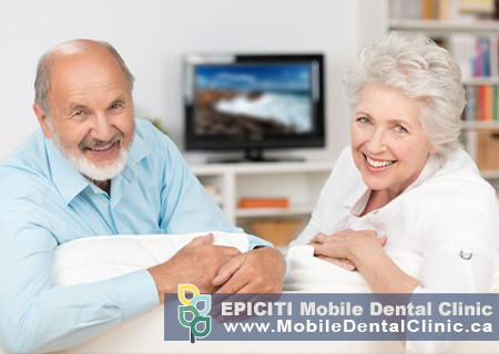 Elderly couple sitting together on a couch looking at the viewer. Experience the joy of smiling again with mobile onsite in-home dental services. Mobile denturist in Newmarket offering mobile denture clinic services for seniors in hospitals, nursing homes, long-term care facilities, retirement homes and private residences. A mobile dental hygienist in Toronto offering mobile dental cleaning for seniors in nursing homes and long-term care homes. Contact EPICITI to learn more about house call denture services in Toronto and Richmond Hill.