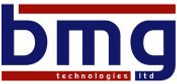 This is the BMG Technologies Logo and Icon, showing BMG in lower case letters in blue and a red stripe top and bottom with the words technologies ltd in white text overlayed
