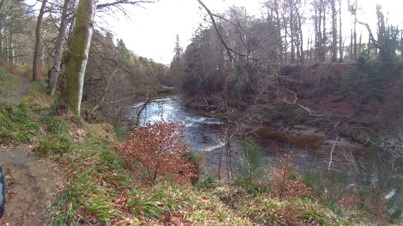 An Autumn Scene in Scotland. The Trees are bare and the river running deep below is running fast.It looks cold but a journey is begining for the salmon and ending too