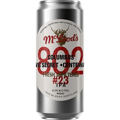 MCLEOD'S 802 #23 UNFILTERED IPA 440ML CAN