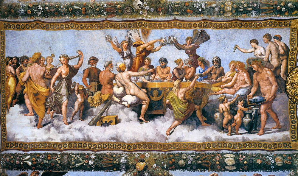 Here is Psyche's marriage to Eros (cupid). Notice the figures with butterfly wings above the couples heads.