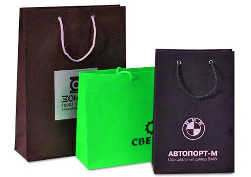Набор корпоративных бумажных пакетов с печатью логотипа