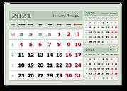 зеленый календарный блок 3в1 для магнитного маркерного календаря пиши-стирай
