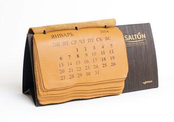 Разработка дизайна и печать необычного премиум календаря из кожи