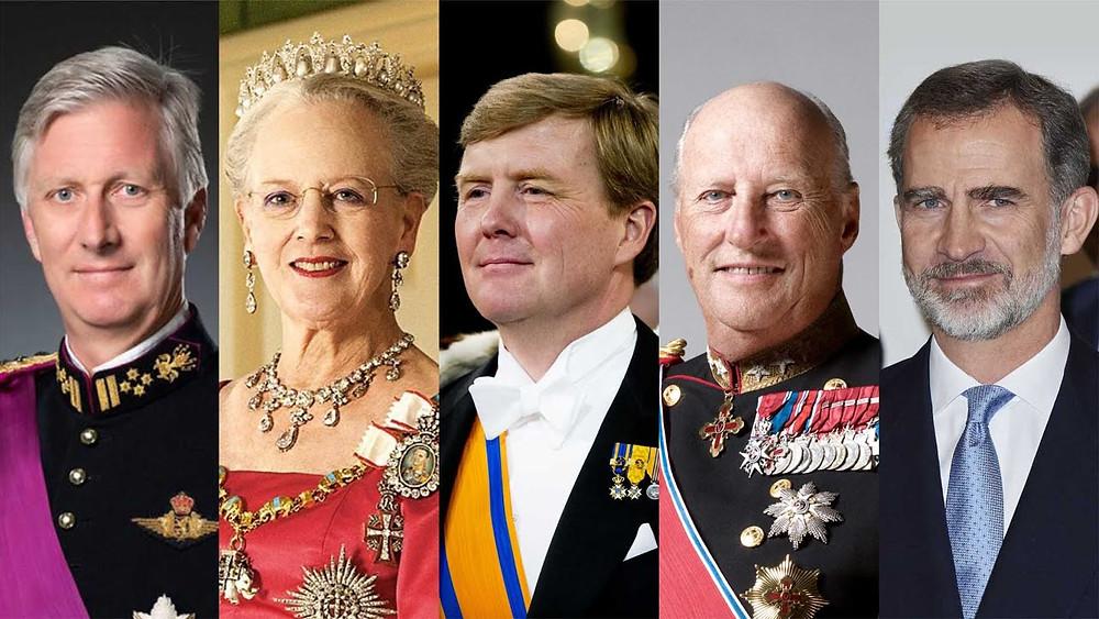 V.l.n.r. Filip (B), Margrethe II (DK), Willem-Alexander (NL), Harald V (N), Felipe VI (ES)