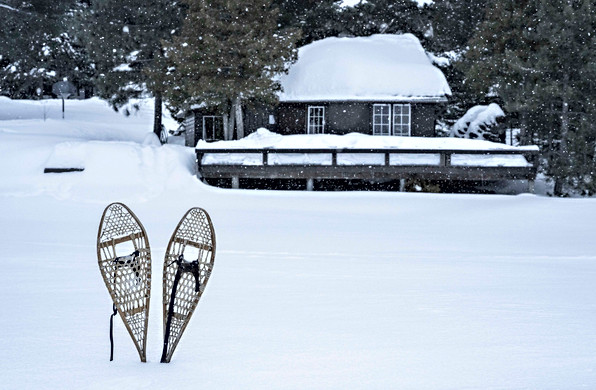 Snowshoes and the swim area