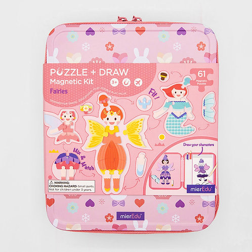 Puzzle + Draw Magnetic Kit - Fairies