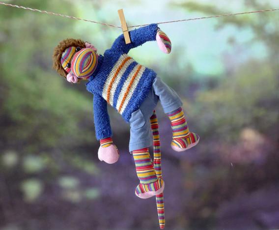 Sabine Rufener Illustration Kinderbuch Textil Stofftier Unikat Affe