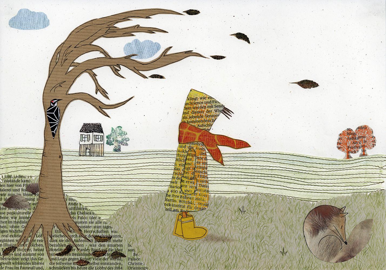 Sabine Rufener Illustration Kinderbuch Collage Kindheit Erinnerung Tollwut Fuchs toter Fuchs