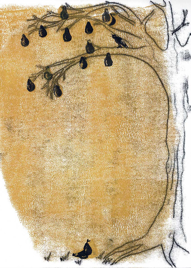 Sabine Rufener Illustration Buchillustration Linoldruck Stempel Fontane Ribbeck  Birnbaum