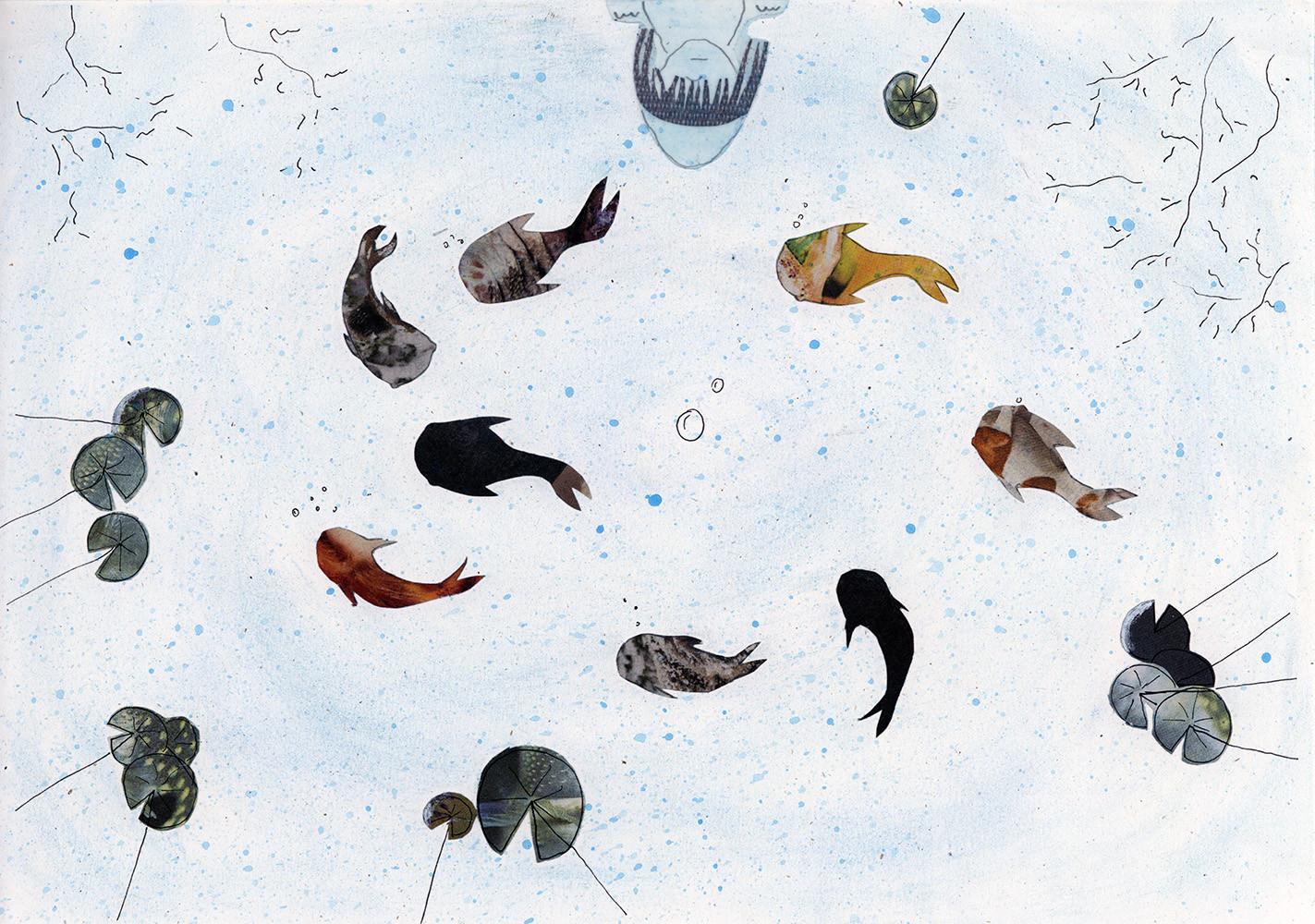 Sabine Rufener Illustration Kinderbuch Collage Kindheit Erinnerung Tollwut Fuchs Fischteich