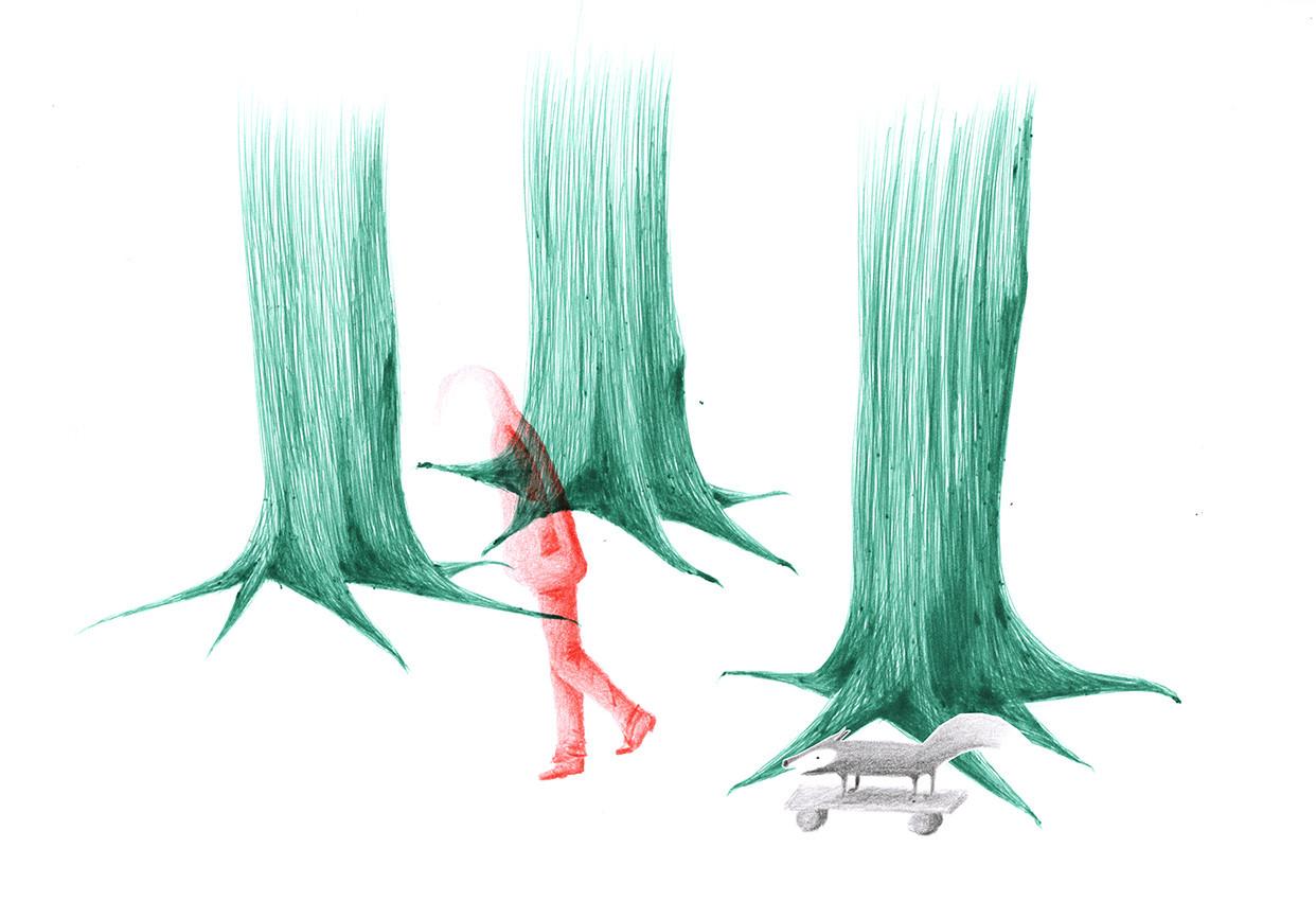 Sabine Rufener Illustration Kinderbuch Einsamkeit Kugelschreiber