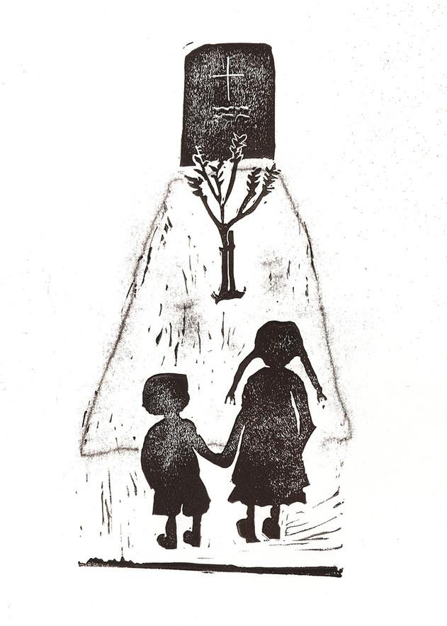 Sabine Rufener Illustration Buchillustration Linoldruck Stempel Fontane Ribbeck  Grab