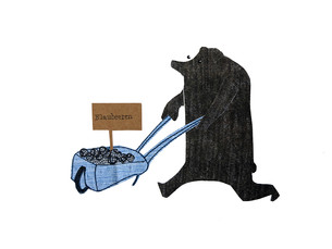 Sabine Rufener Illustration Kinderbuch Collage Bären Beeren Blaubär