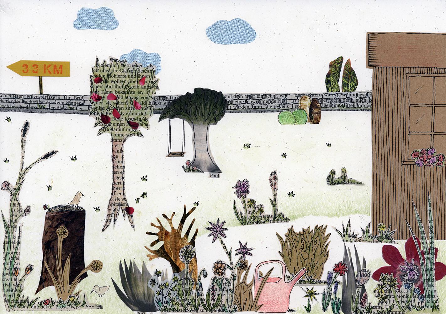 Sabine Rufener Illustration Kinderbuch Collage Kindheit Erinnerung Tollwut Fuchs Garten