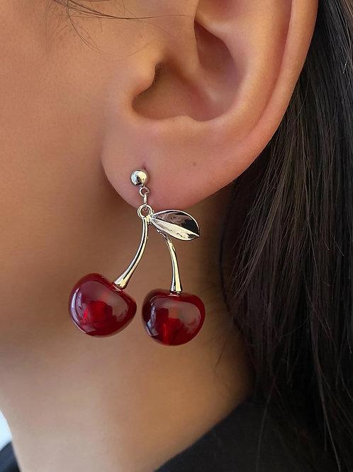 Boucles d'oreilles cerises rouges