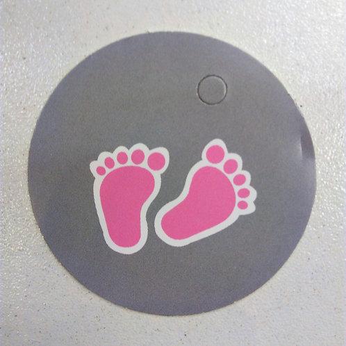 Etiquette pieds rose ronde