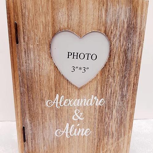 Boite à photos en bois personnalisée
