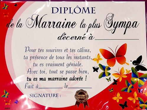 """Diplôme """"Marraine la plus sympa"""""""