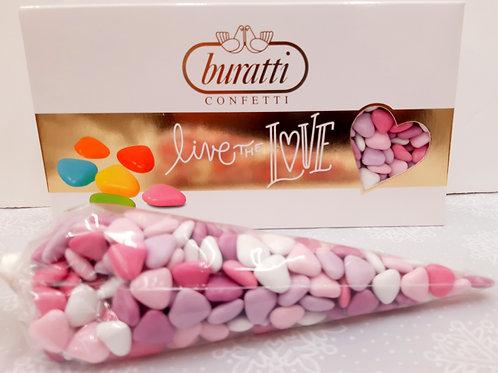 250 grs Dragées Mini Coeur en chocolat rose/violet/blanc/fushia