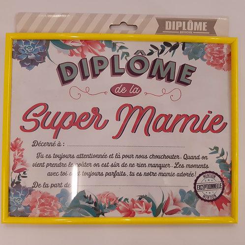 Diplôme sous verre de la Super Mamie