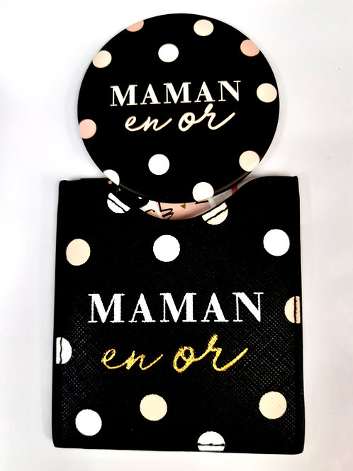 "Miroir de poche avec étui  ""Maman en Or"""