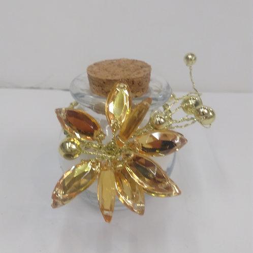Bocal avec Fleur en diamant dorée
