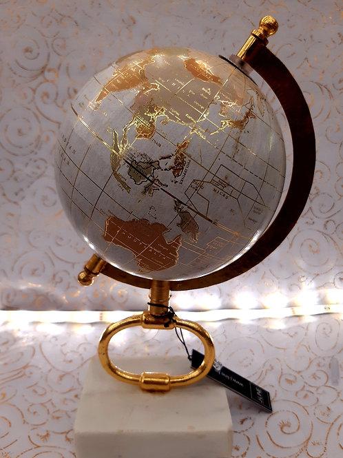 Globe planisphère blanc et Or