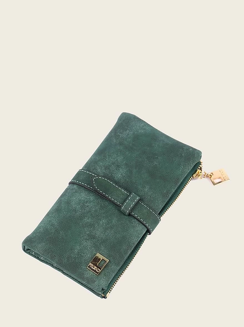 Portefeuille en suédine vert