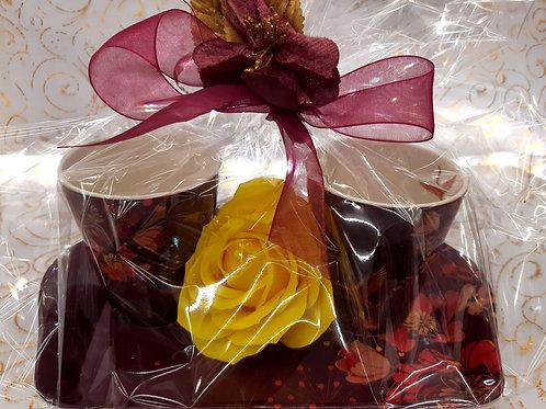 Plateau+ 2 mugs + fleur de savon
