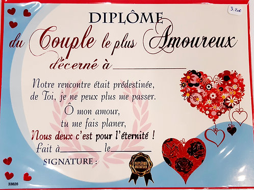 """Diplôme du """" Couple le plus amoureux"""""""