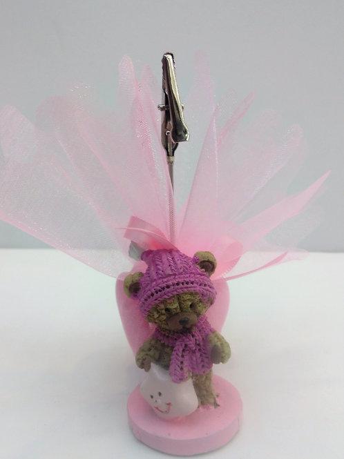 Pince ourson bonnet rose