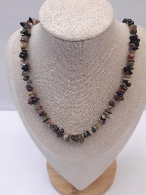 Collier en pierre Tourmaline multicolore