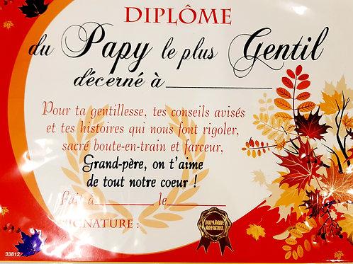 """Diplôme du """"Papy le plus gentil"""""""