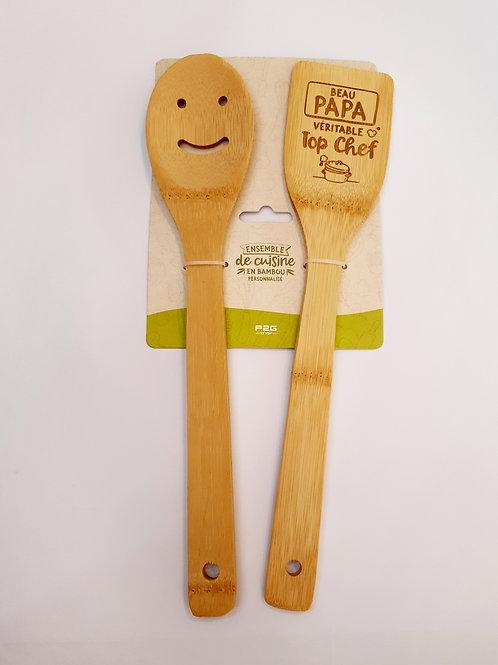 "Spatules cuisine en bambou ""Beau-papa"""