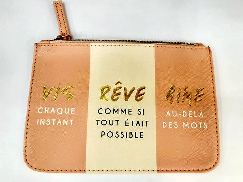 "Pochette maquillage ""Vis rêve Aime"""