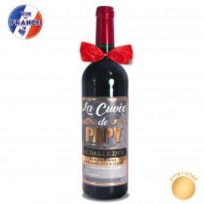"""Bouteille Vin """" Cuvée de Papy"""""""