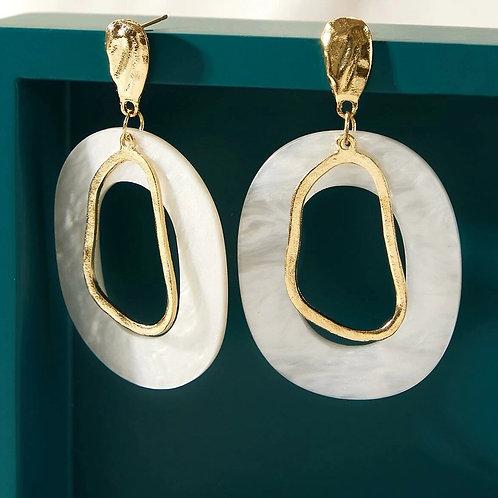 Boucles d'oreilles ronds nacres et or